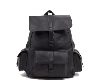 Leather backpack in black with multi pockets